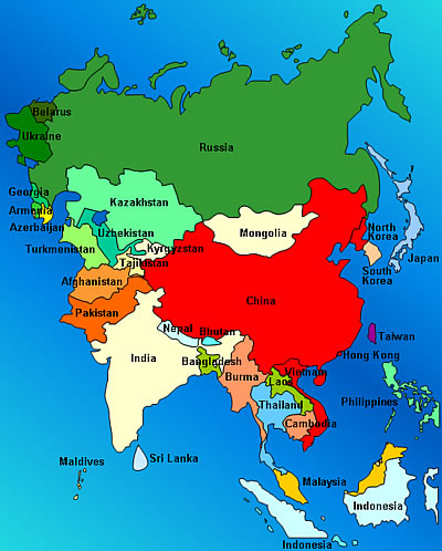 Map Of Modern Asia.Asia Knowledgeispower